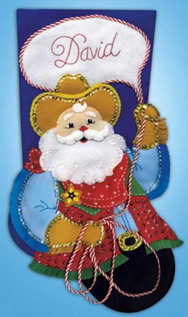 Cowboy Santa Christmas Stocking Felt Applique Kit by Design Works