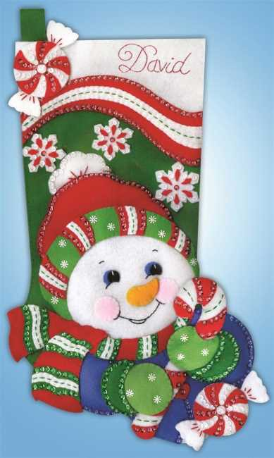 Snowman Christmas Stocking Felt Applique Kit by Design Works