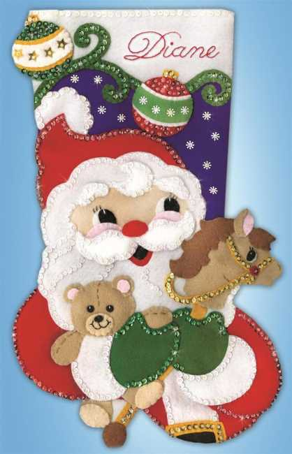 Santa and Toys Christmas Stocking Felt Applique Kit by Design Works