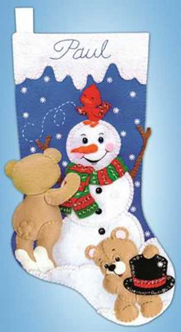 Snowman and Teddies Christmas Stocking Felt Applique Kit by Design Works