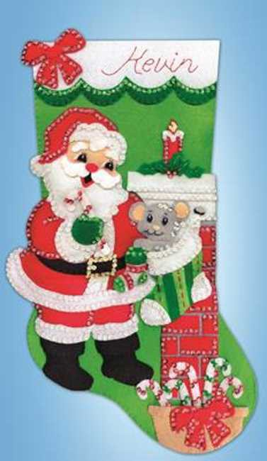 Santa with Mouse Christmas Stocking Felt Applique Kit by Design Works
