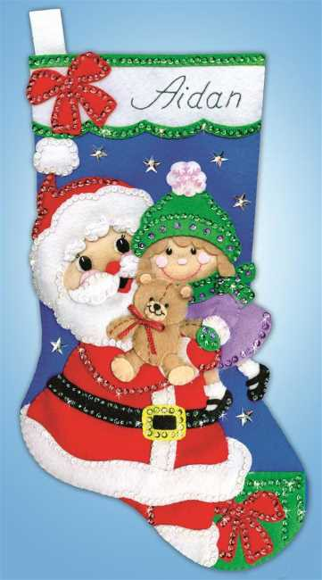 Santa with Girl Christmas Stocking Felt Applique Kit by Design Works