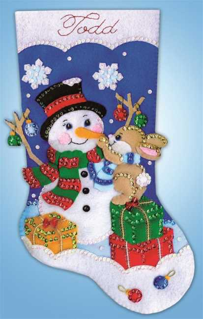 Busy Bunny Christmas Stocking Felt Applique Kit by Design Works