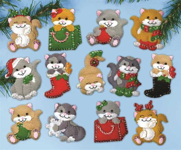Holiday Cats Christmas Felt Applique Kit by Design Works