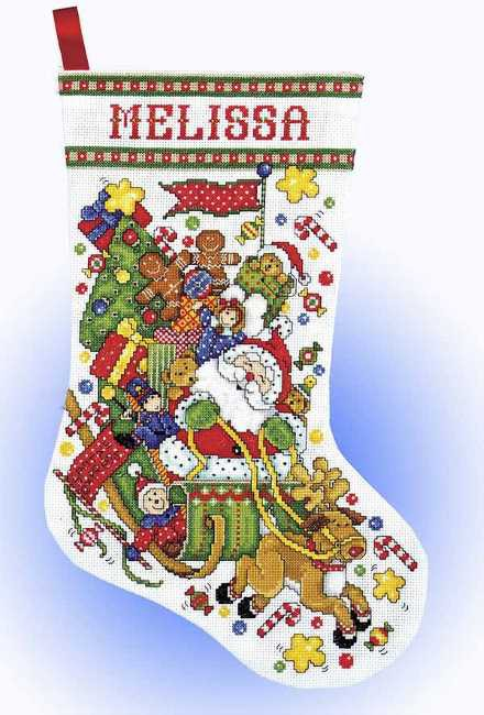 Santa Sleigh Christmas Stocking Cross Stitch Kit by Design Works