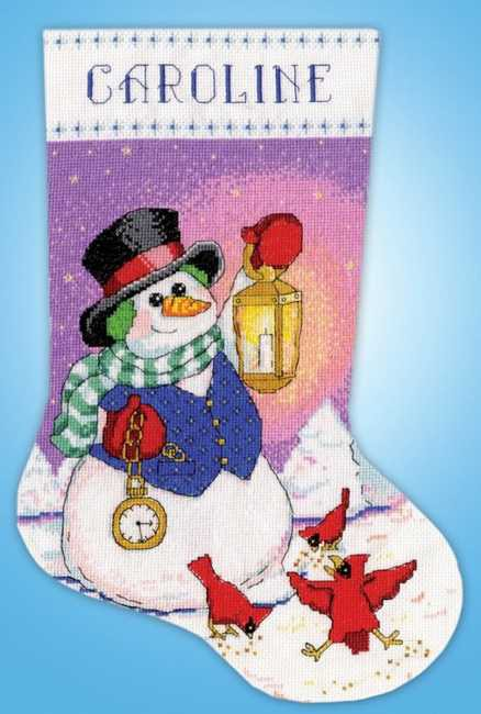 Snowman Lantern Christmas Stocking Cross Stitch Kit By Design Works