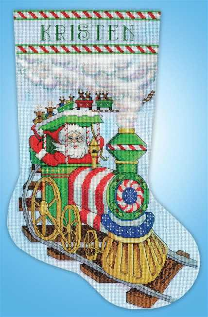 Santa Train Christmas Stocking Cross Stitch Kit by Design Works