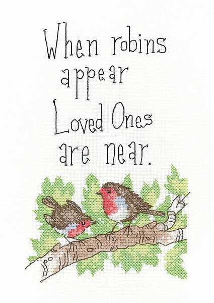 When Robins Appear Cross Stitch Kit by Heritage Crafts
