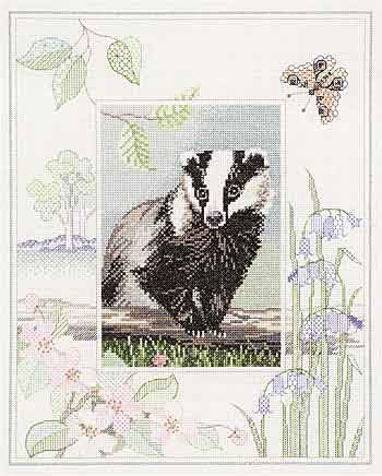 Badger Cross Stitch Kit by Derwentwater Designs