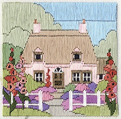 Hollyhock Cottage Long Stitch Kit by Derwentwater Designs