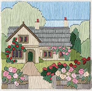 Rambling Rose Cottage Long Stitch Kit by Derwentwater Designs