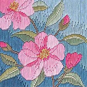Camelias Long Stitch Kit by Derwentwater Designs