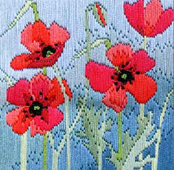 Wild Poppies Long Stitch Kit by Derwentwater Designs
