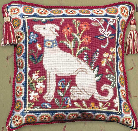 Medieval Dog Needlepoint Cushion Kit by Glorafilia