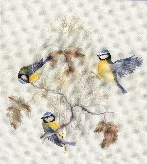 Blue Tits and Seed Heads Cross Stitch Kit by Derwentwater Designs