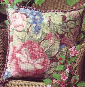 Garden Roses Needlepoint Cushion Kit by Glorafilia