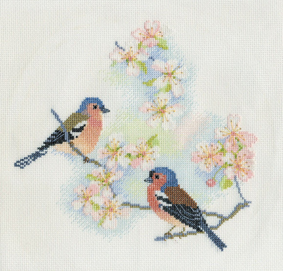 Chaffinches and Blossom Cross Stitch Kit by Derwentwater Designs