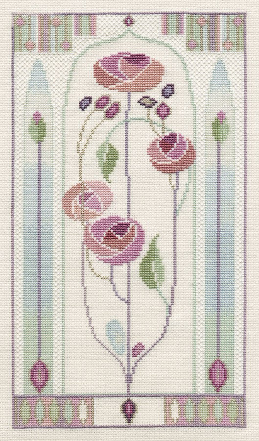 Oriental Rose Cross Stitch Kit by Derwentwater Designs