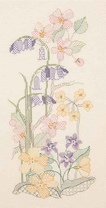 Spring Blackwork  Blackwork Kit by Derwentwater Designs