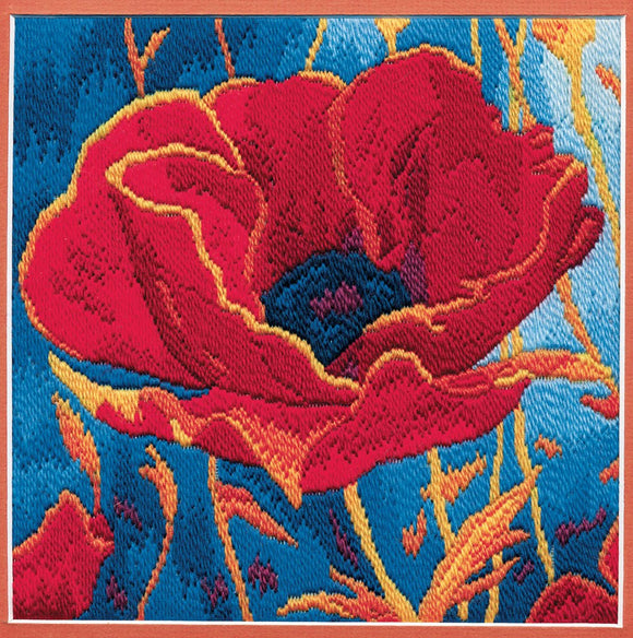 Poppy Head Long Stitch Kit by Derwentwater Designs