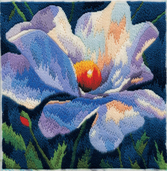 White Poppy Long Stitch Kit by Derwentwater Designs