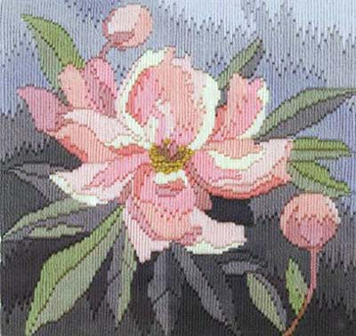 Peony Long Stitch Kit by Derwentwater Designs