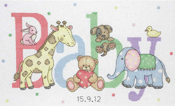Baby Animals Birth Sampler Cross Stitch Kit By Anchor