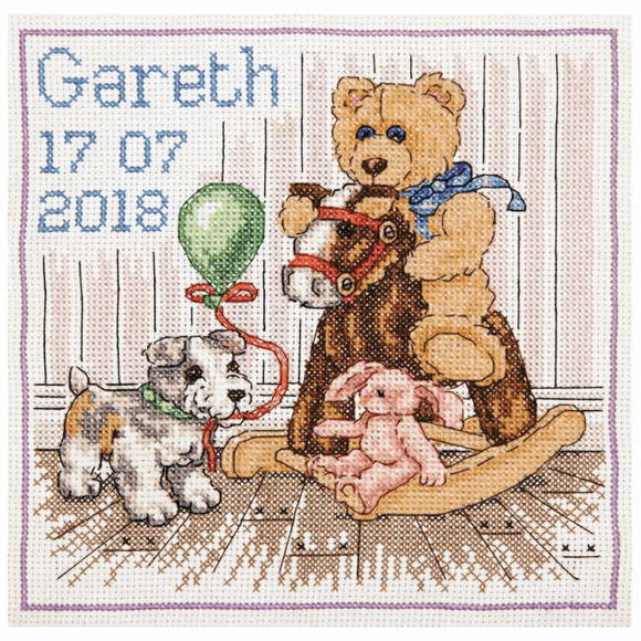 Teddy Birth Sampler Cross Stitch Kit By Anchor