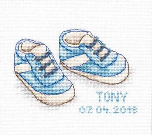Baby Shoes Boy Birth Sampler Cross Stitch Kit by Luca S
