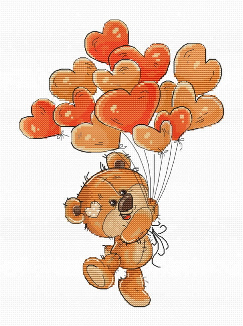 Teddy with Heart Balloons Cross Stitch Kit By Luca S