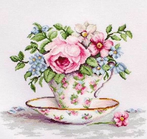 Blooms in a Teacup Cross Stitch Kit by Luca S