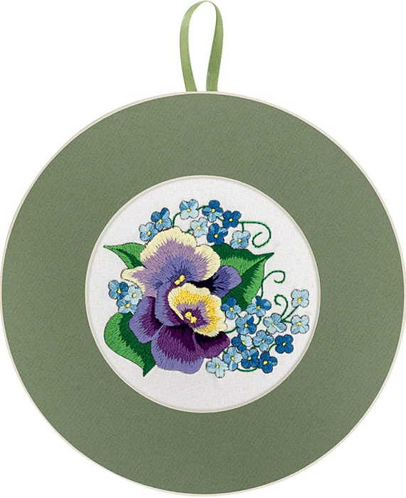 Pansies and Forget Me Nots Embroidery Kit by PANNA