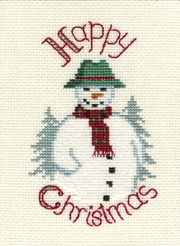 Snowman Cross Stitch Christmas Card Kit by Derwentwater Designs