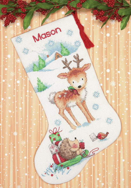 Reindeer and Hedgehog Christmas Stocking Cross Stitch Kit by Dimensions