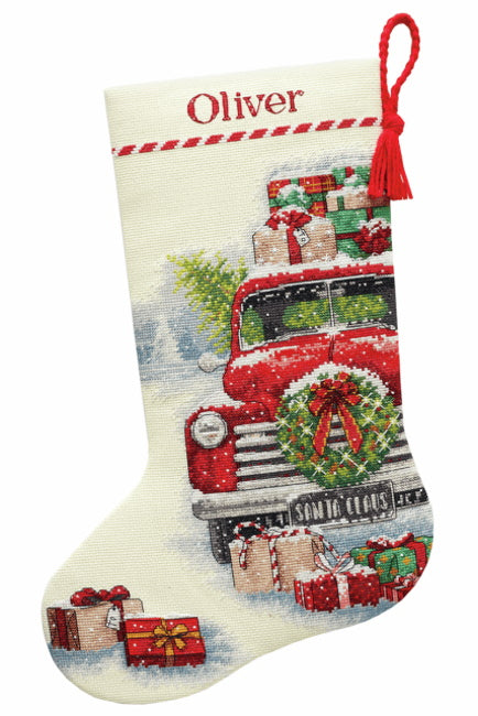 Santa's Truck Christmas Stocking Cross Stitch Kit by Dimensions