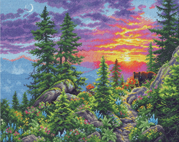Sunset Mountain Trail Cross Stitch Kit by Dimensions
