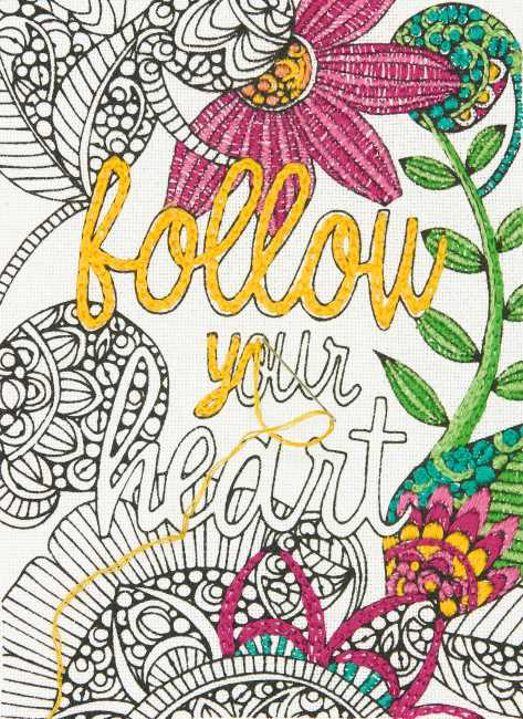 Follow Your Heart Embroidery Kit by Dimensions