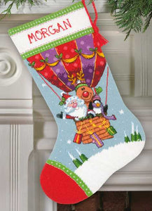 Santas Balloon Ride Christmas Stocking Tapestry Kit by Dimensions