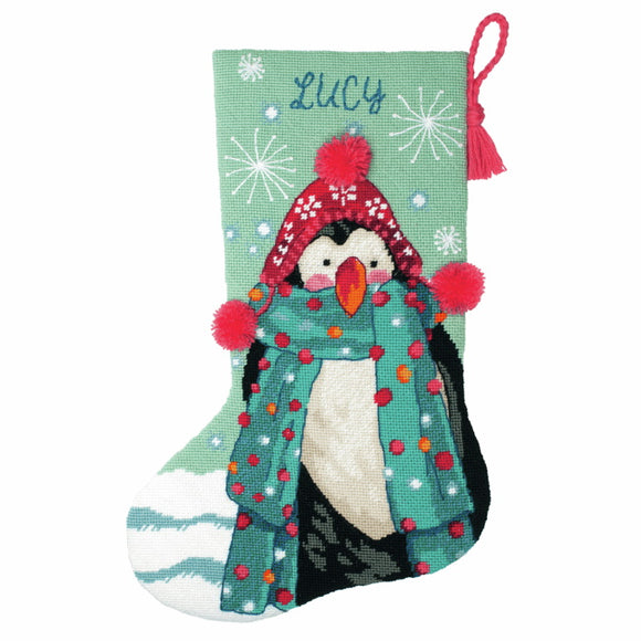 Fuzzy Penguin Christmas Stocking Tapestry Kit by Dimensions