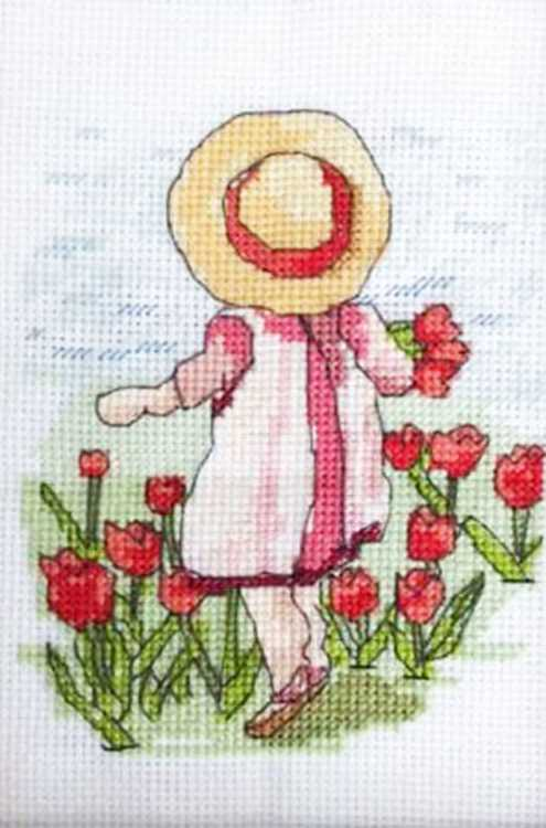 Tiptoe Through the Tulips All Our Yesterdays Cross Stitch Kit by Faye Whittaker