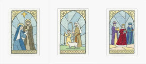 Stained Glass Windows Cross Stitch Christmas Card Set by Heritage Crafts