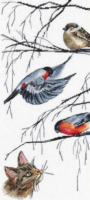 Birds and Curious Cat Cross Stitch Kit by PANNA