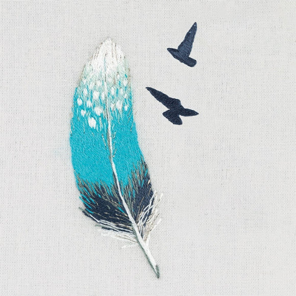 Blue Feather Embroidery Kit by PANNA