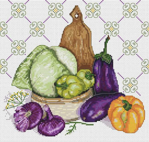 Still Life in Purple Cross Stitch Kit by Merejka