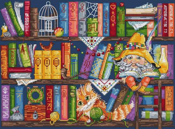 Bookshelf Cross Stitch Kit by Merejka
