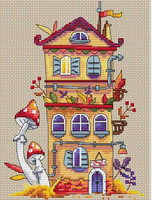 Autumn House Cross Stitch Kit by Merejka