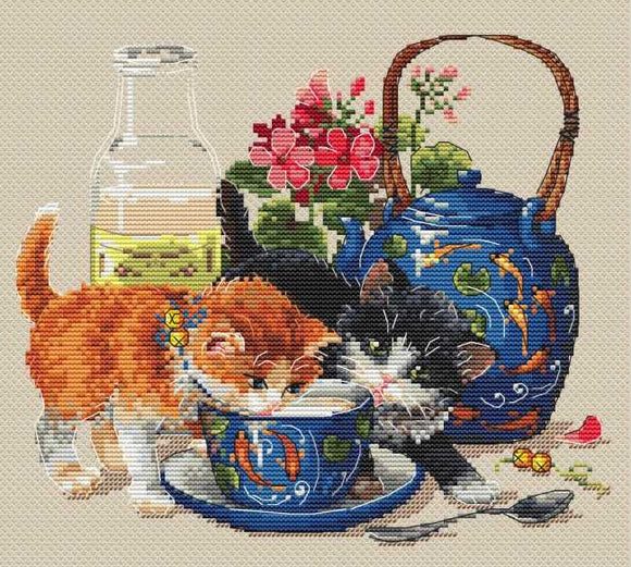 Kittens and Milk Cross Stitch Kit by Merejka