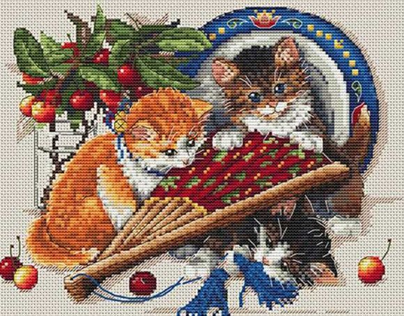 Kittens and Cherries Cross Stitch Kit by Merejka