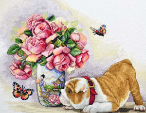 Bulldog and Butterflies Cross Stitch Kit by Merejka