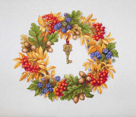 Autumn Wreath Cross Stitch Kit by Merejka